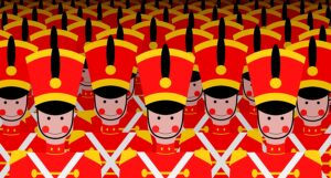 drawing of multiple toy soldiers in red and white to symbolize an army