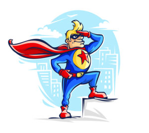 drawing of superhero in costume like that of Superman